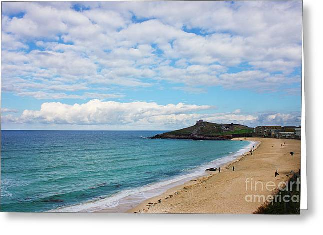 Nicholas Greeting Cards - Porthmeor Beach and St Ives Island Greeting Card by Terri  Waters