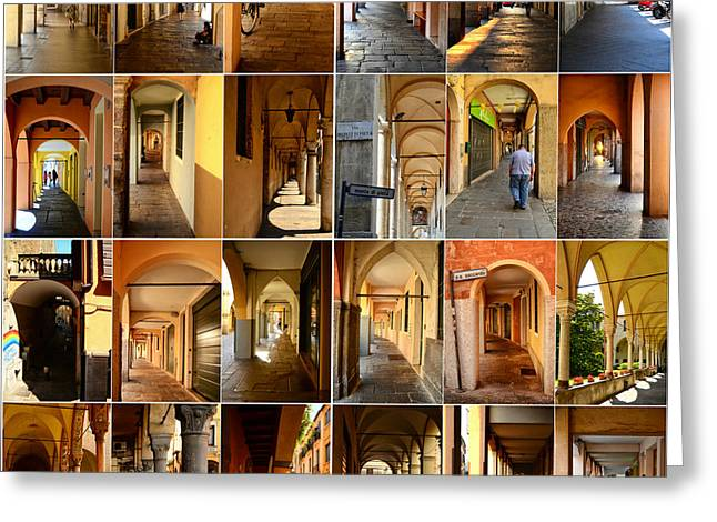 Northern Italy Greeting Cards - Porticos of Padua Combined Greeting Card by Sabine Jacobs
