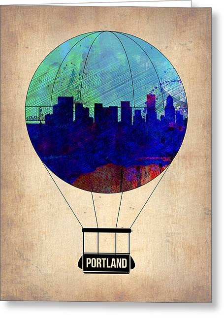 Portland Greeting Cards - Portland Air Balloon Greeting Card by Naxart Studio