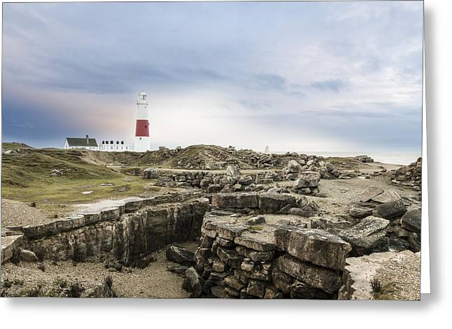 Famouse Greeting Cards - Portland Bill Lighthouse Moody Skies Greeting Card by Ollie Taylor