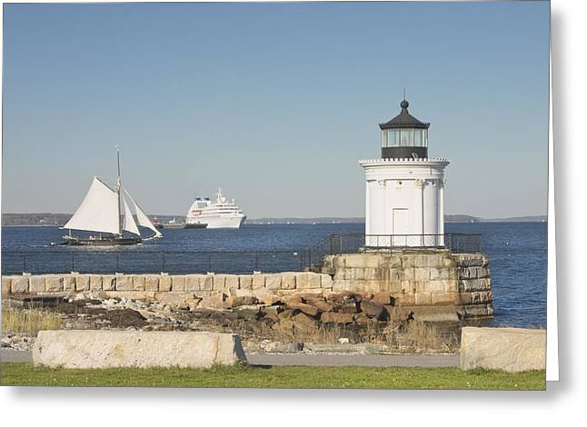 New England Lighthouse Photographs Greeting Cards - Portland Breakwater Lighthouse on the Maine Coast Greeting Card by Keith Webber Jr