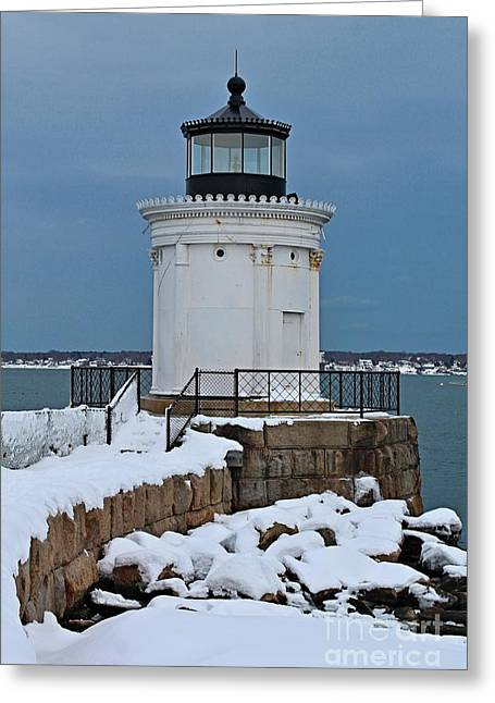 Winter In Maine Greeting Cards - Portland Breakwater_0040 Greeting Card by Joseph Marquis