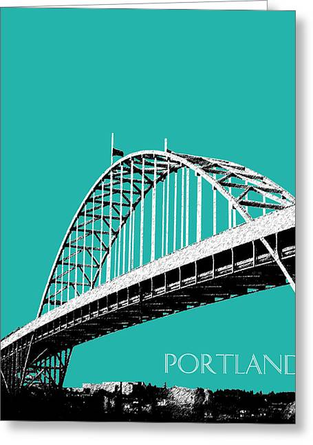 Architecture Digital Greeting Cards - Portland Bridge - Teal Greeting Card by DB Artist