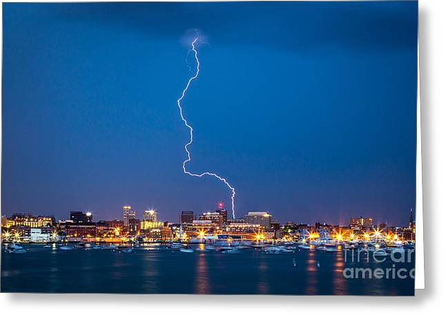 Storm Prints Photographs Greeting Cards - Portland gets Zapped Greeting Card by Benjamin Williamson