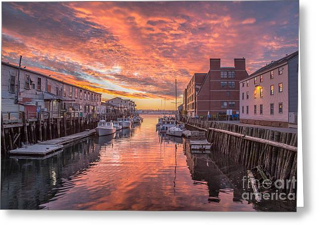 Portland Harbor Sunrise Greeting Card by Benjamin Williamson