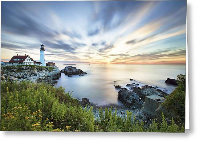 Portland Head Light Greeting Cards - Portland Head Daybreak Greeting Card by Eric Gendron
