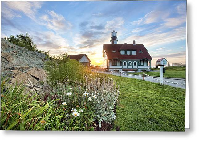 Old Maine Houses Greeting Cards - Portland Head Garden Greeting Card by Eric Gendron
