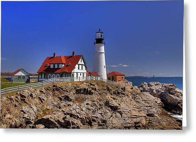 New England Lighthouse Greeting Cards - Portland Head Light 3 Greeting Card by Joann Vitali