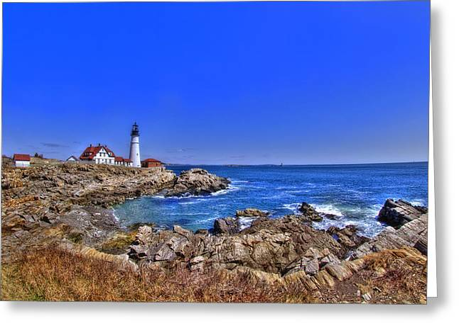 Ledge Greeting Cards - Portland Head Light 4 Greeting Card by Joann Vitali