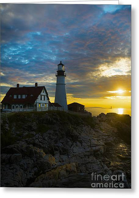 Maine Lighthouses Photographs Greeting Cards - Portland Head Light at Dawn Greeting Card by Diane Diederich