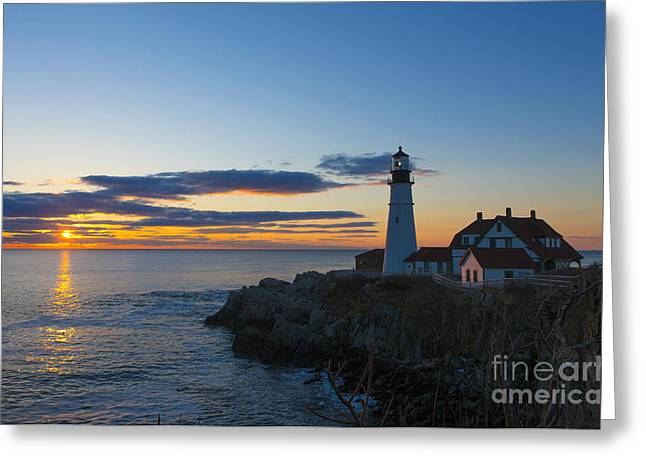Maine Ocean Greeting Cards - Portland Head Light at Sunrise Greeting Card by Diane Diederich