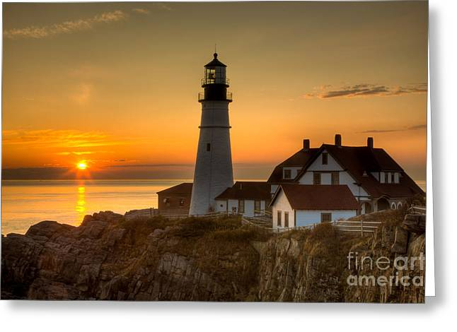 Portland Head Light at Sunrise II Greeting Card by Clarence Holmes
