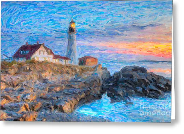 Maine Shore Greeting Cards - Portland Head Light at Sunrise Impasto I Greeting Card by Clarence Holmes