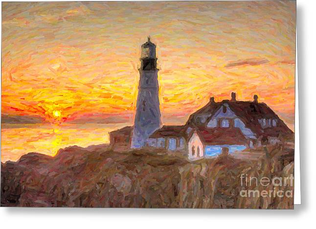 Keepers House Greeting Cards - Portland Head Light at Sunrise Impasto II Greeting Card by Clarence Holmes