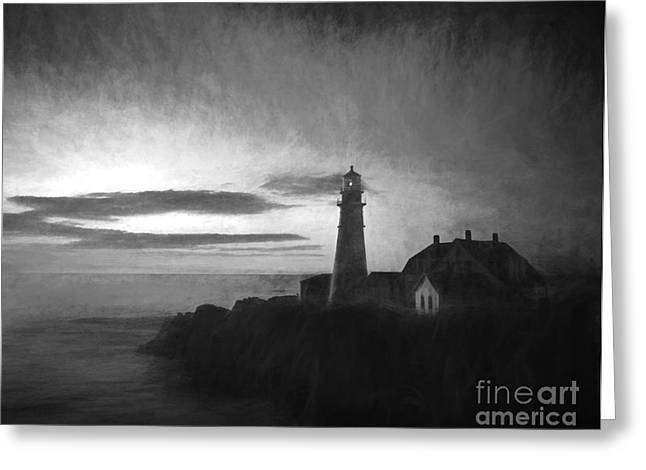 New England Ocean Greeting Cards - Portland Head Light at Sunrised Greeting Card by Diane Diederich
