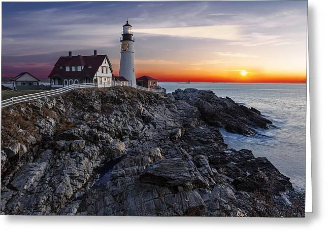 Portland Greeting Cards - Portland Head Light Awakes Greeting Card by Susan Candelario