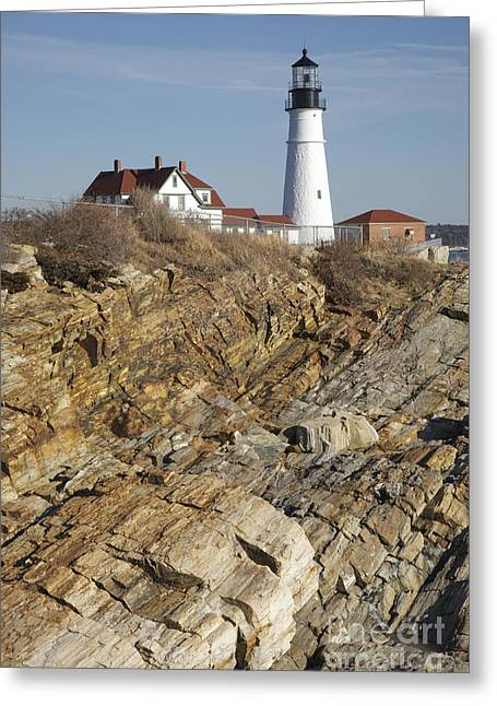 Old Maine Houses Greeting Cards - Portland Head Light - Cape Elizabeth Maine Greeting Card by Erin Paul Donovan