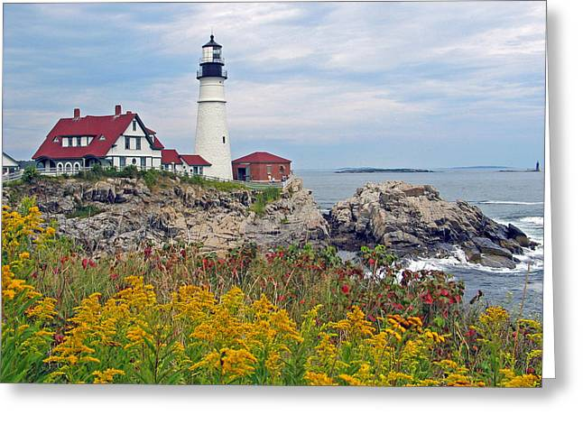 Maine Lighthouses Pyrography Greeting Cards - Portland Head Light Greeting Card by Gale Field