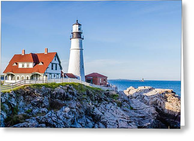 Maine Lighthouses Greeting Cards - Portland Head Light House Cape Elizabeth Maine Greeting Card by Robert Bellomy