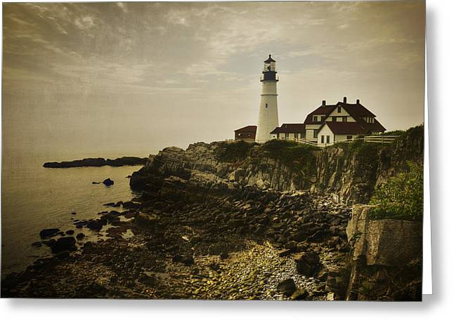 Maine Shore Greeting Cards - Portland Head Light II Greeting Card by Joan Carroll