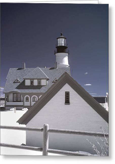 New England Lighthouse Greeting Cards - Portland Head Light in IR Greeting Card by Joann Vitali