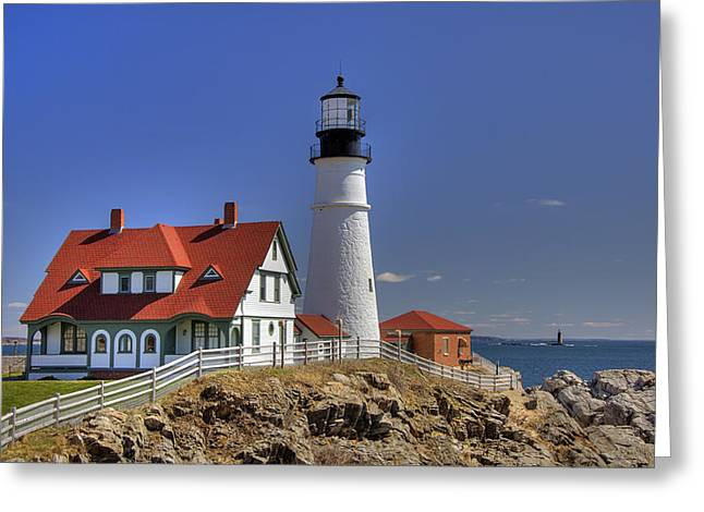 Ledge Greeting Cards - Portland Head Light Greeting Card by Joann Vitali