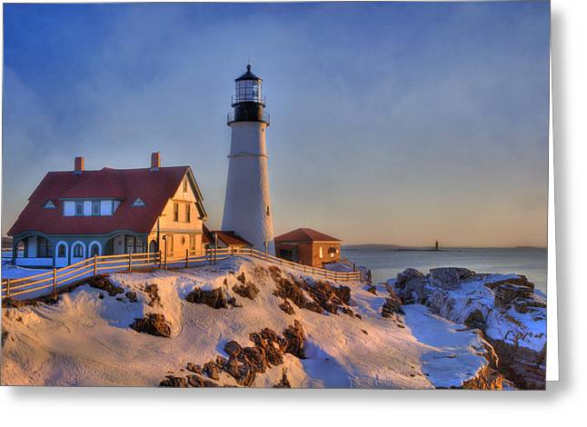 New England Winter Scene Greeting Cards - Portland Head Light - New England Lighthouse - Cape Elizabeth Maine Greeting Card by Joann Vitali