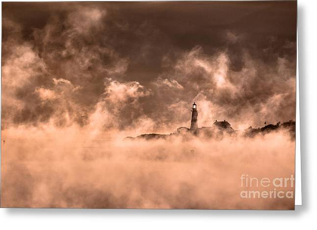 Maine Icons Greeting Cards - Portland Head Light Sea Smoke Greeting Card by Benjamin Williamson