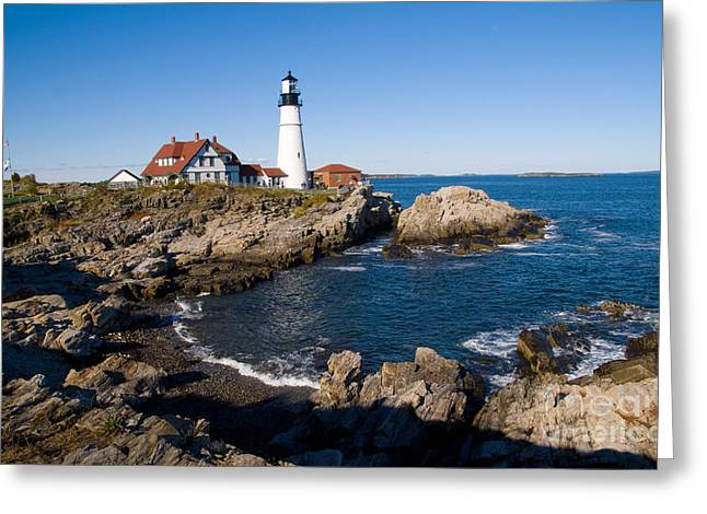 New England Lighthouse Greeting Cards - Portland Head Light Station Greeting Card by Bill Bachmann