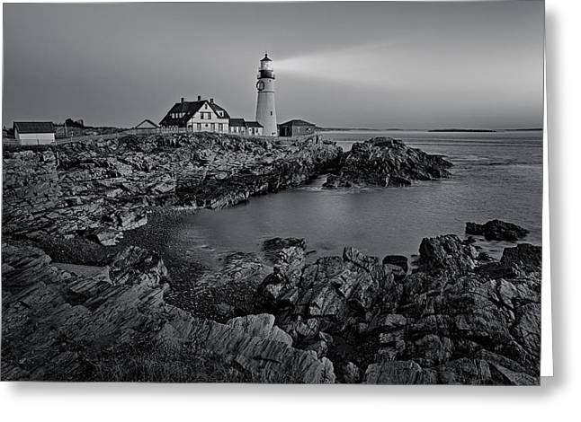 Portland Greeting Cards - Portland Head Light Sunrise BW Greeting Card by Susan Candelario