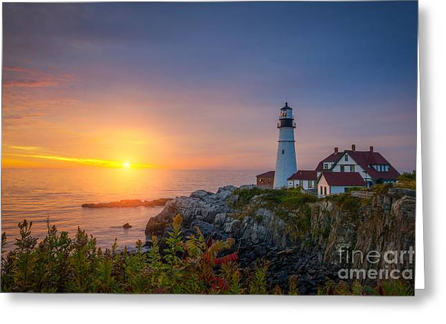 Ver Sprill Photographs Greeting Cards - Portland Head Light Sunrise  Greeting Card by Michael Ver Sprill
