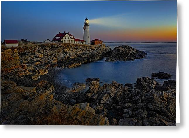 Portland Greeting Cards - Portland Head Light Sunrise Greeting Card by Susan Candelario