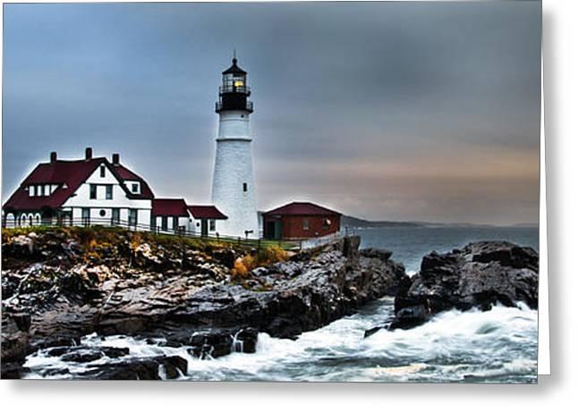 Shed Greeting Cards - Portland Head Lighthouse 1 Greeting Card by Glenn Gordon
