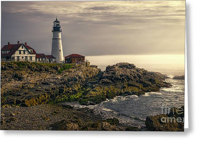Maine Shore Greeting Cards - Portland Head Lighthouse 2014 Greeting Card by Joan Carroll
