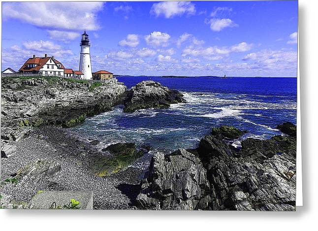Maine Lighthouses Mixed Media Greeting Cards - Portland Head Lighthouse Greeting Card by Anthony Dalton