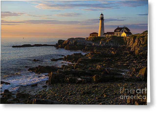 Portland Greeting Cards - Portland Head Lighthouse at Dawn Greeting Card by Diane Diederich