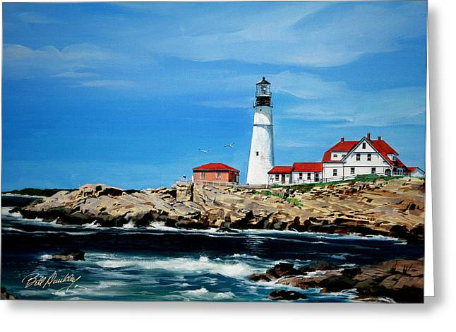 Portland Head Lighthouse Greeting Card by Bill Dunkley