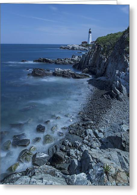 Maine Landscape Greeting Cards - Portland Head Lighthouse Cape Elizabeth Maine Greeting Card by Andy Gimino