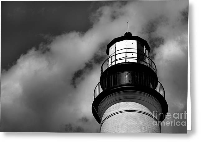 Portland Lighthouse Greeting Cards - Portland Head Lighthouse in Black and White Greeting Card by Diane Diederich