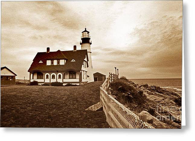Maine Beach Greeting Cards - Portland Head Lighthouse In Sepia Greeting Card by Skip Willits
