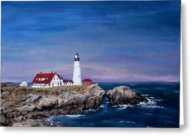 Jack Skinner Paintings Greeting Cards - Portland Head Lighthouse Greeting Card by Jack Skinner