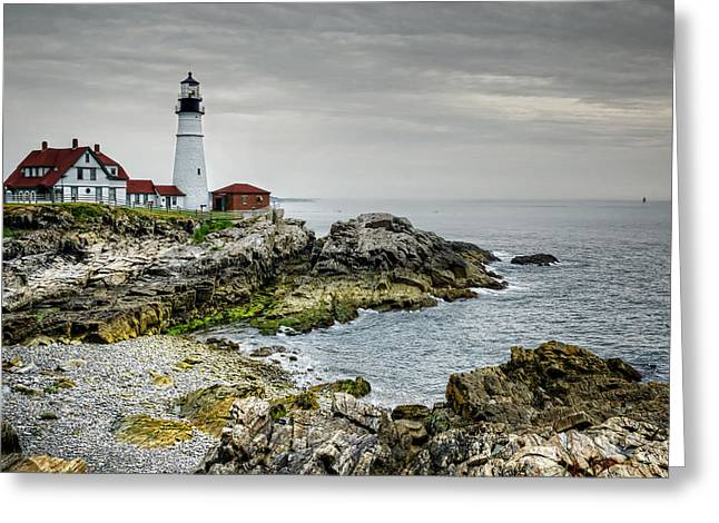 Maine Shore Greeting Cards - Portland Head Lighthouse Greeting Card by Joan Carroll