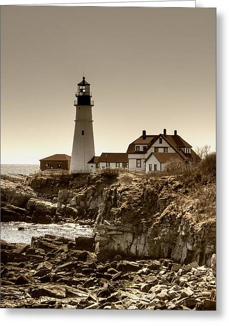 New England Lighthouse Greeting Cards - Portland Head Lighthouse Greeting Card by Joann Vitali