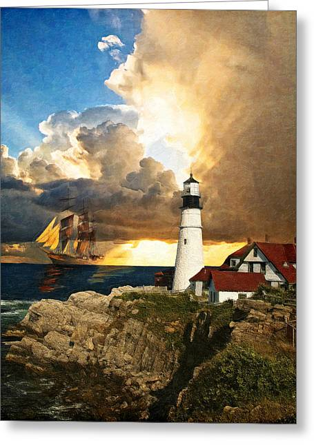 Recently Sold -  - Ledge Greeting Cards - Portland Head Lighthouse Greeting Card by Lianne Schneider