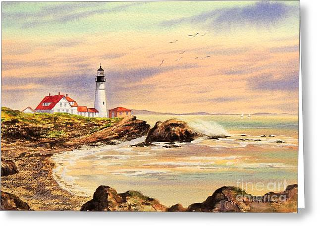 New England Lighthouse Greeting Cards - Portland Head Lighthouse Maine Greeting Card by Bill Holkham