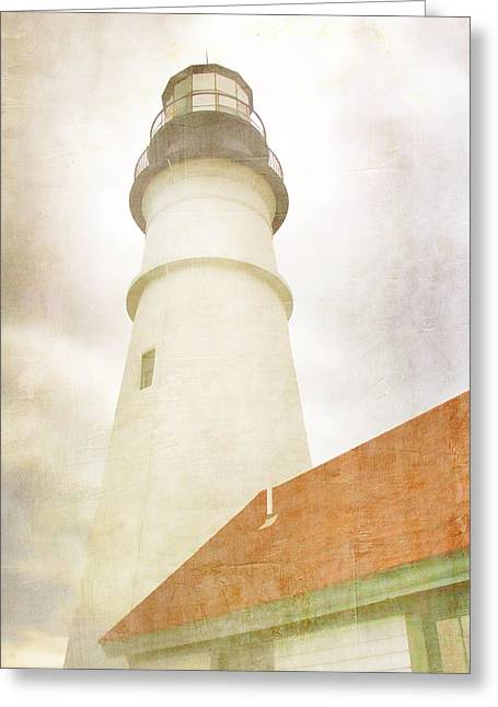 New England Lights Greeting Cards - Portland Head Lighthouse Maine Greeting Card by Carol Leigh