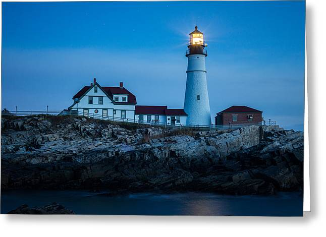 Maine Icons Greeting Cards - Portland Head Lighthouse Greeting Card by Matthew Milone