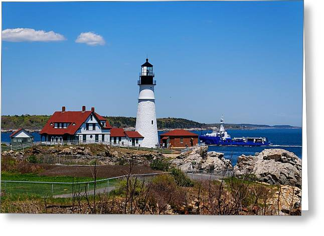 Old Maine Houses Greeting Cards - Portland Head Lighthouse Greeting Card by Nomad Art And  Design
