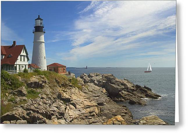 Panoramic Ocean Greeting Cards - Portland Head Lighthouse Panoramic Greeting Card by Mike McGlothlen