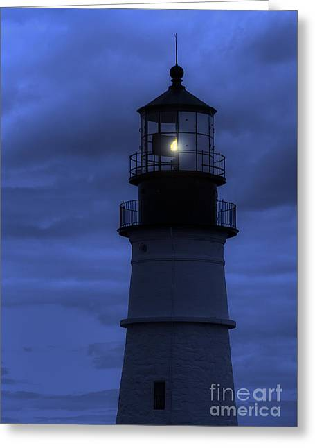 Dark Skies Greeting Cards - Portland Head Lighthouse Silhouette Greeting Card by Diane Diederich
